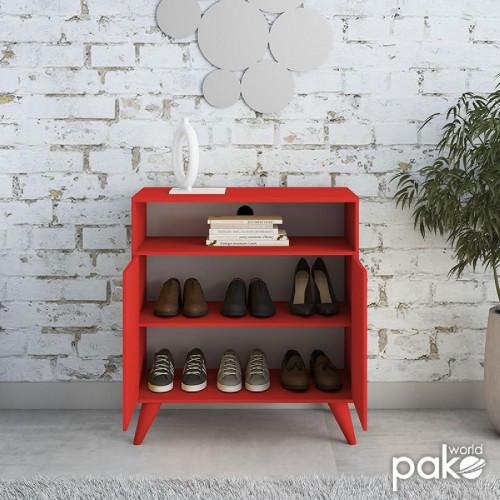 Έπιπλο TV-Ντουλάπι-Παπουτσοθήκη 6 ζεύγων London pakoworld κόκκινο 72x40x79εκ