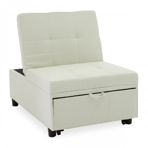 Πολυμορφικό σκαμπό-πολυθρόνα-κρεβάτι Loco pakoworld εκρού ύφασμα 76x106x89εκ