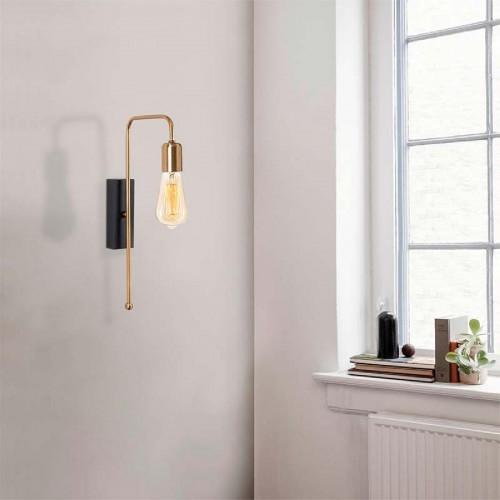 Φωτιστικό τοίχου - απλίκα PWL-0060 pakoworld χρώμα χρυσό-μαύρο 22x6x42εκ