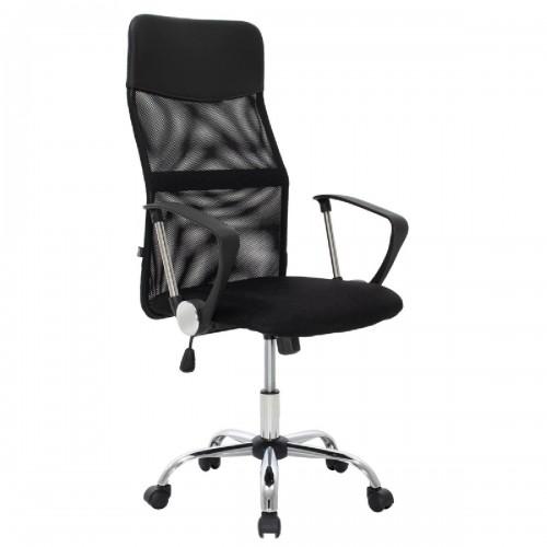 Καρέκλα γραφείου διευθυντή Joel pakoworld με ύφασμα mesh χρώμα μαύρο