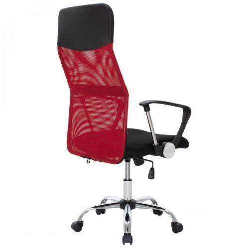 Καρέκλα γραφείου διευθυντή Joel pakoworld με ύφασμα mesh χρώμα μαύρο-κόκκινο