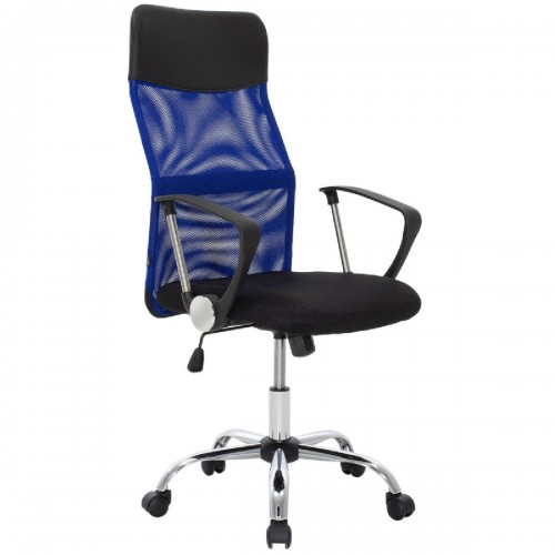 Καρέκλα γραφείου διευθυντή Joel pakoworld με ύφασμα mesh χρώμα μαύρο-μπλε