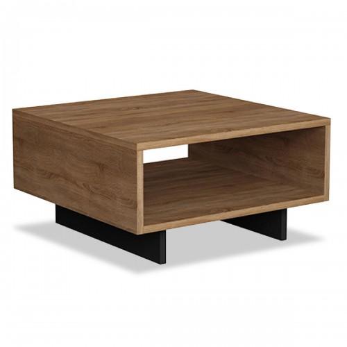 Βοηθητικό τραπέζι Hola pakoworld χρώμα φυσικό - ανθρακί 60x60x32εκ