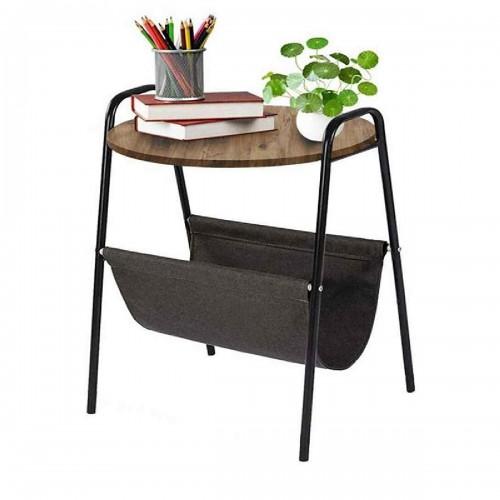 Βοηθητικό τραπέζι σαλονιού Casper pakoworld μαύρο-καρυδί 40x43x60εκ