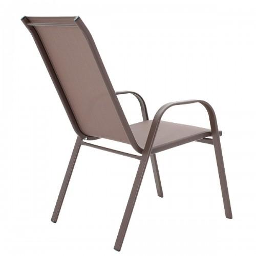 Πολυθρόνα κήπου Calan pakoworld μέταλλο σκούρo καφέ-textilene καφέ