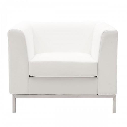 Πολυθρόνα Professional pakoworld inox-τεχνόδερμα λευκό 85x75x66εκ