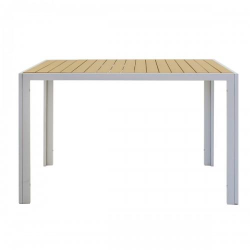 Tραπέζι κήπου Tessa pakoworld μέταλλο λευκό-φυσικό 120x80x75εκ