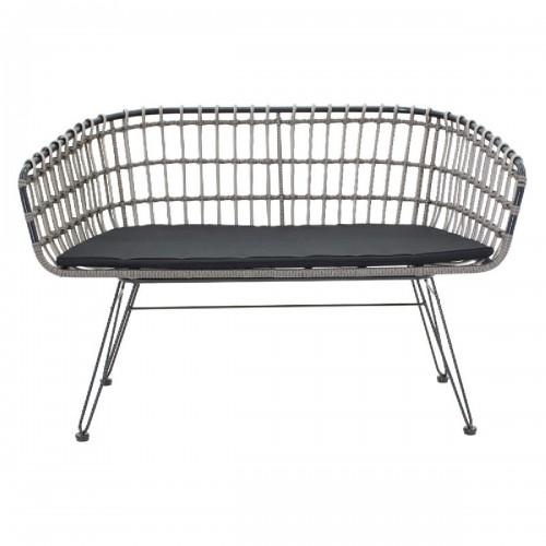 Καναπές 2θέσιος Naoki pakoworld μέταλλο μαύρο-pe γκρι 120x55x79εκ
