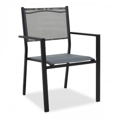 Πολυθρόνα κήπου Moly pakoworld μέταλλο μαύρο textilene ανθρακί